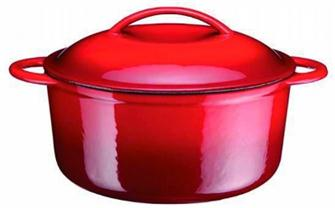 Cast iron round casserole dish - red - 25 cm - 4.3 litres