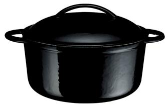 Cast iron round casserole dish - black - 23 cm - 3 litres