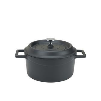 Round 20 cm matt black casserole dish