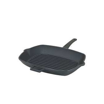 Matt black cast iron grill pan 26 x 32 cm