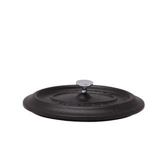 Oval matt black cast iron lid