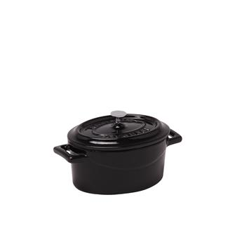 Mini oval casserole dish in cast iron - shiny black