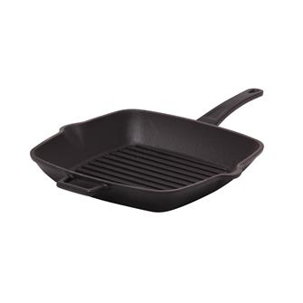 Matt black cast iron grill pan 26 x 26 cm