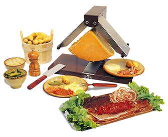 Raclette machine with 2 ramps