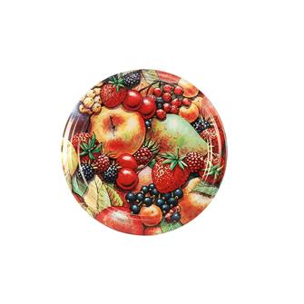 Twist-off lids with matt fruit décor - 63 mm by 10