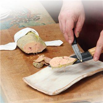 Vacuum cooked mi-cuit foie gras at low temperature