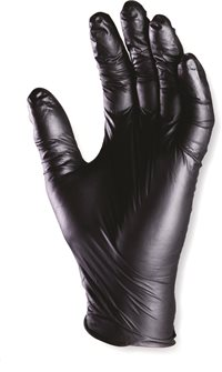 Disposable Black Nitrile Gloves Powder Free size 7 S (per 100)