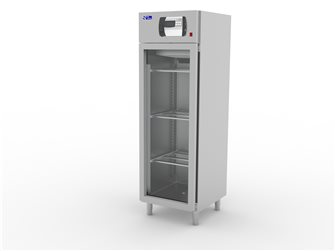 Stainless steel deli cupboard with glass door 700 l
