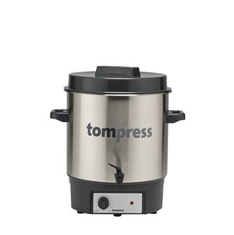 Stainless steel Tom Press electric steriliser with a tap