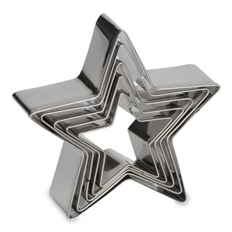 Set of 5 star stainless steel cookie cutters