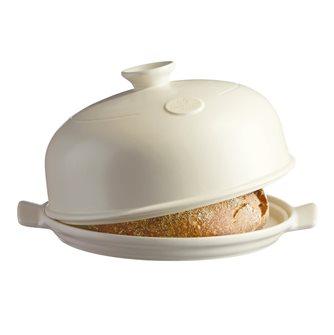 28 cm ceramic white bread bell Emile Henry Linen