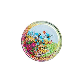 Twist-off lids with landscape and bee drawing 63 mm by 10
