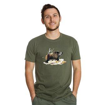 Men's t-shirt Bartavel Nature khaki silkscreen wild boar on bed XXL