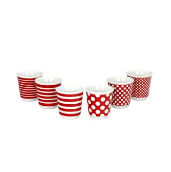 Set of 6 espresso cups Pop red