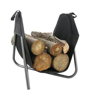 Removable indoor log basket on metal support