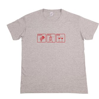 Grape Press Wine T-shirt 3XL Tom Press gray heather silkscreen bordeaux