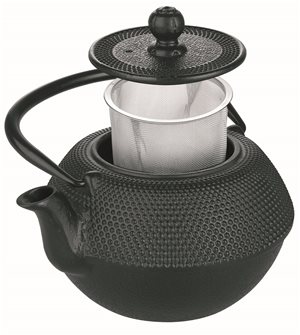 Large cast iron teapot 1.2 l black induction with stainless steel filter