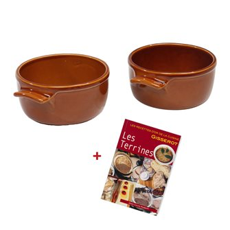 2 round terrines 16 cm Emile Henry Miel ceramic + free booklet