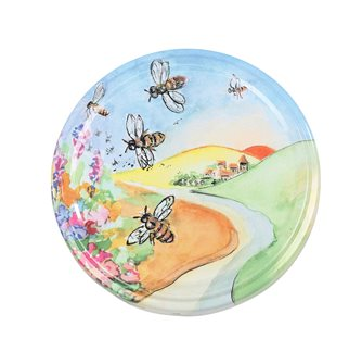 Twist-off lids with landscape and bee drawing 82 mm by 10