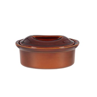 Oval terrine 23 cm exclusive Emile Henry 1.1 liter ceramic brown cinnamon