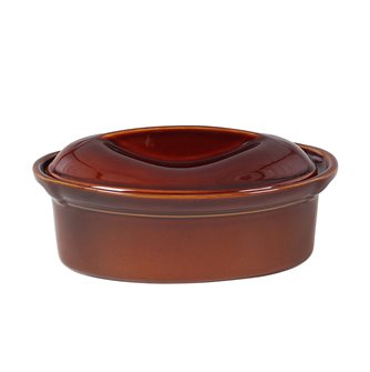 Oval terrine 27 cm exclusive Emile Henry 1.6 liter brown ceramic Cinnamon