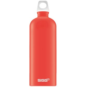 Light red aluminum reusable bottle 1l light Lucid Scarlet Touch Sigg