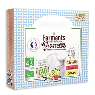 Freeze-dried organic ferments for homemade yoghurts 3 flavors vanilla strawberry lemon