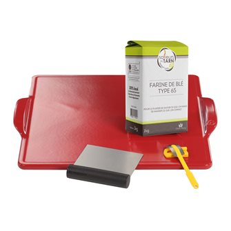 Ceramic refractory plate for baking bread with a dough and flour nibbler