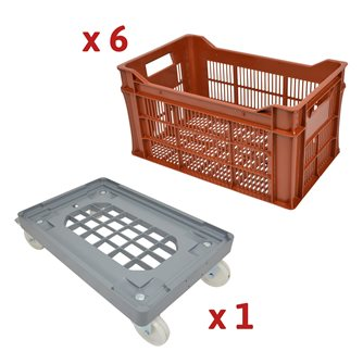 Kit of 30 liter crates with open bottom and multi-tray trolley