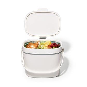 Bac à compost de cuisine blanc 6,6 litres avec couvercle hygiénique et anti-odeurs