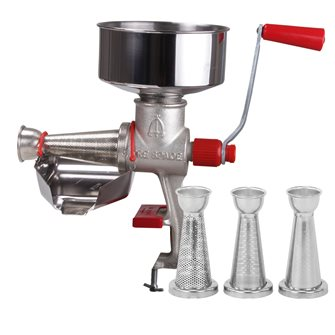 Manual tomato and fruit press, cast iron and stainless steel with 4 grids