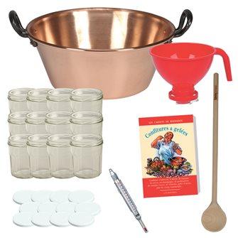 Kit confiture de base avec bassine cuivre induction pots entonnoir thermomètre et recettes